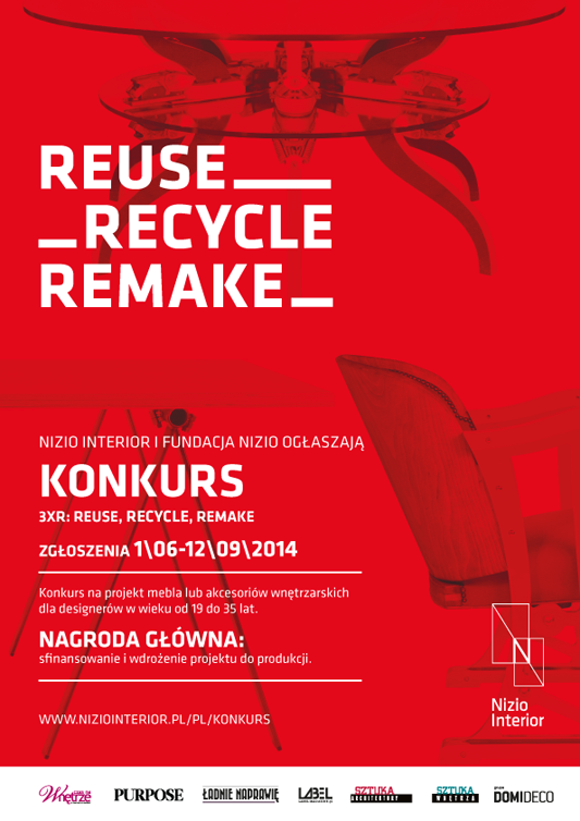 "Plakat promujący konkurs ""3xR: reuse, recycle, remake"""