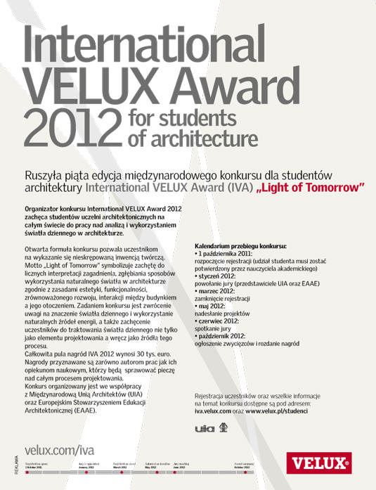 Plakat International Velux Award 2012